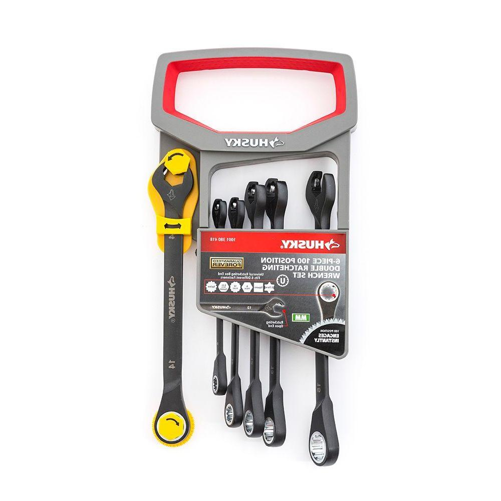 100-Position Double Ratcheting Wrench Set Metric (6-Piece)