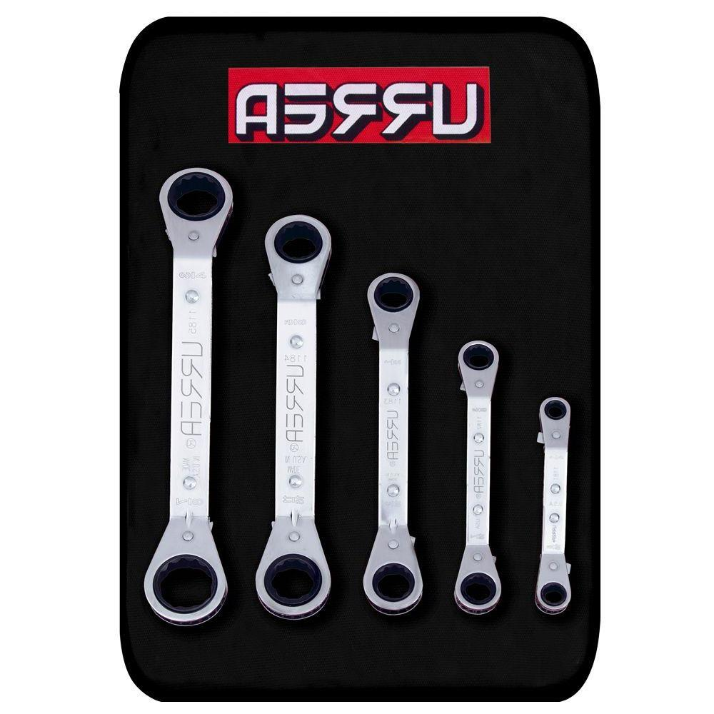 Offset Box End 12-Point Ratcheting Chrome Wrench Set (5-Piece)