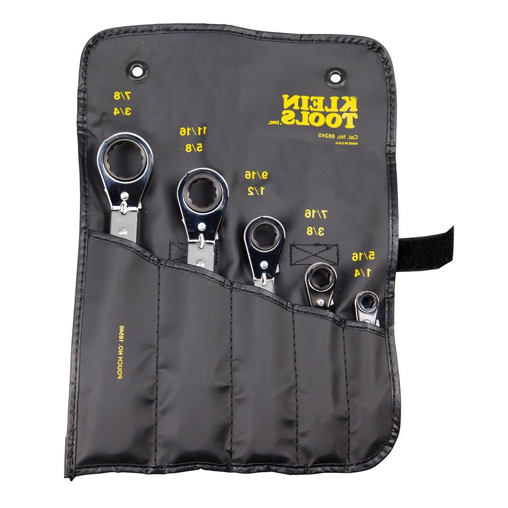 5-Piece Fully Reversible Ratcheting Offset Box Wrench Set