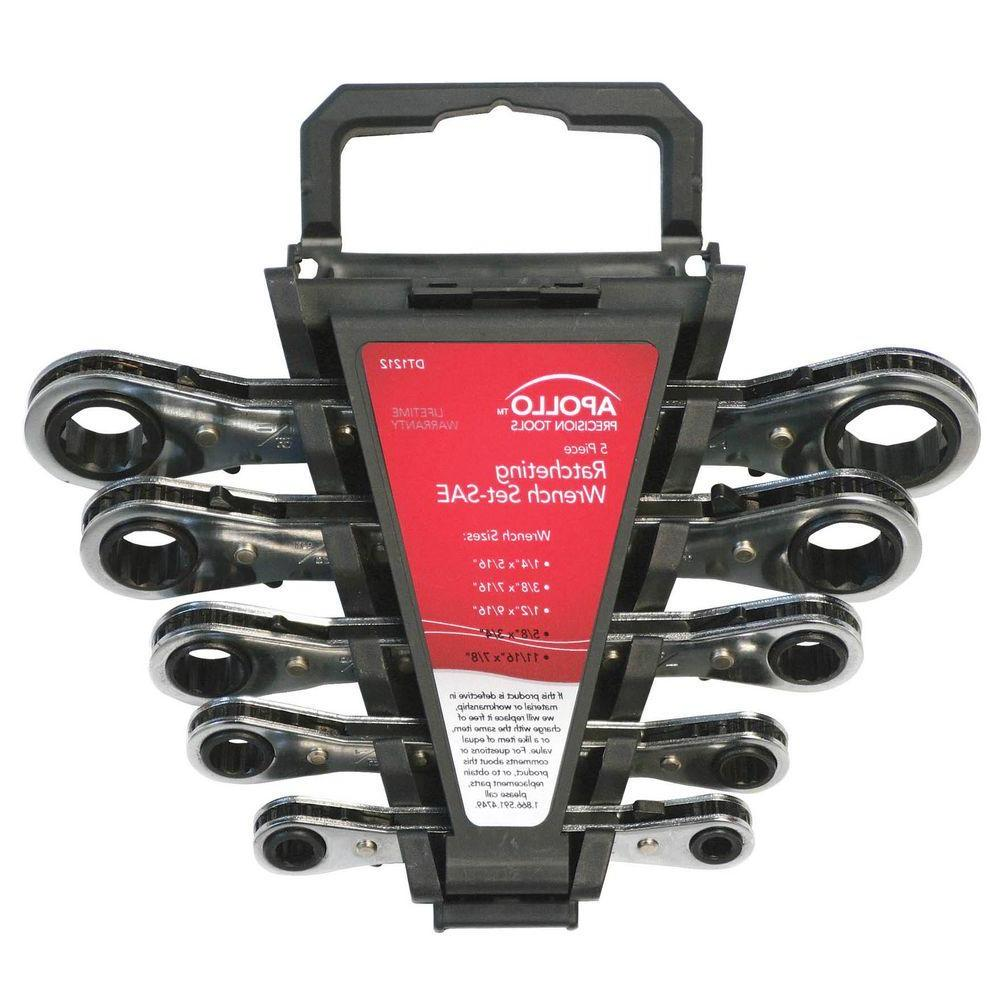 5-Piece SAE Ratcheting Wrench Set
